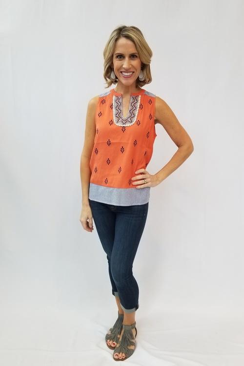 Orange Sleeveless Printed Top