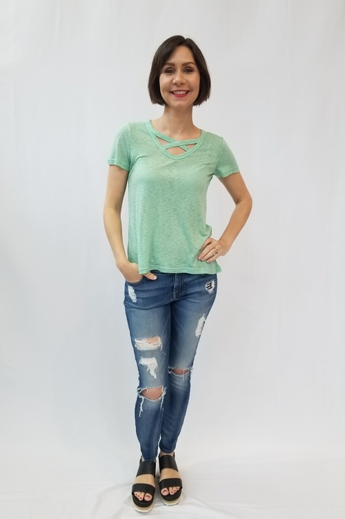 Mint Criss Cross Neckline Tee