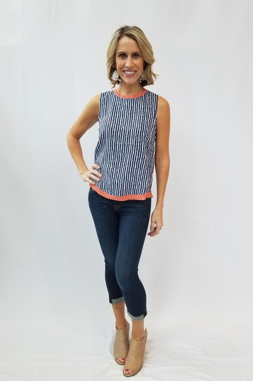 Sleeveless Striped Coral Trim Top