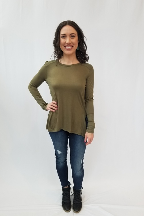 Leryn Burnt Olive Jersey Top