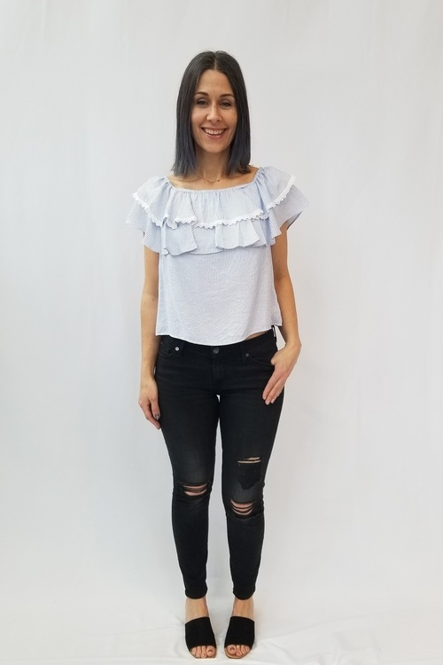 Hayes Off Shoulder Lace Trim Top