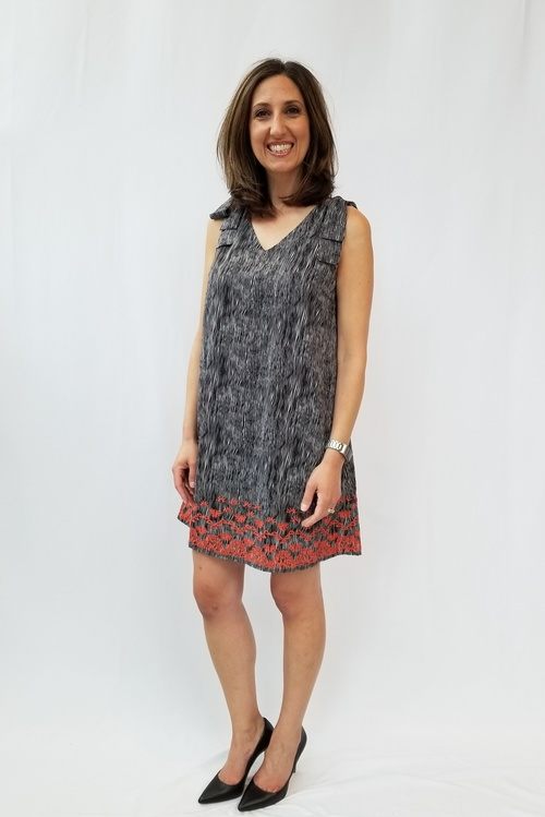 Printed Embroidered Shift Dress