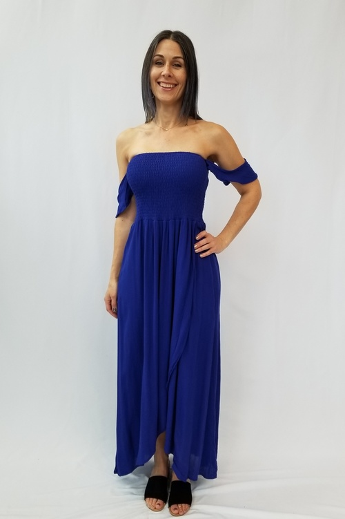 Royal Blue Off Shoulder Maxi