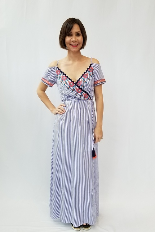 Striped Cold Shoulder Embroidered Dress w/ Straps