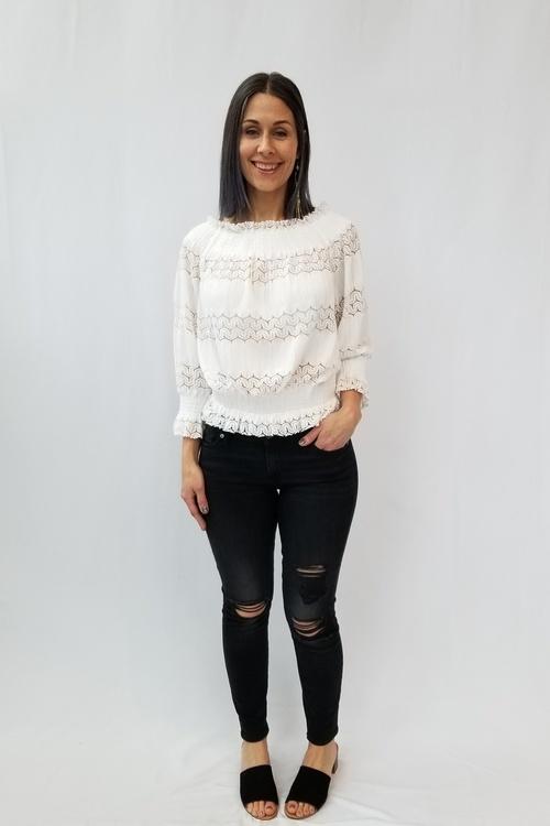 Smocked Crochet Off Shoulder Top