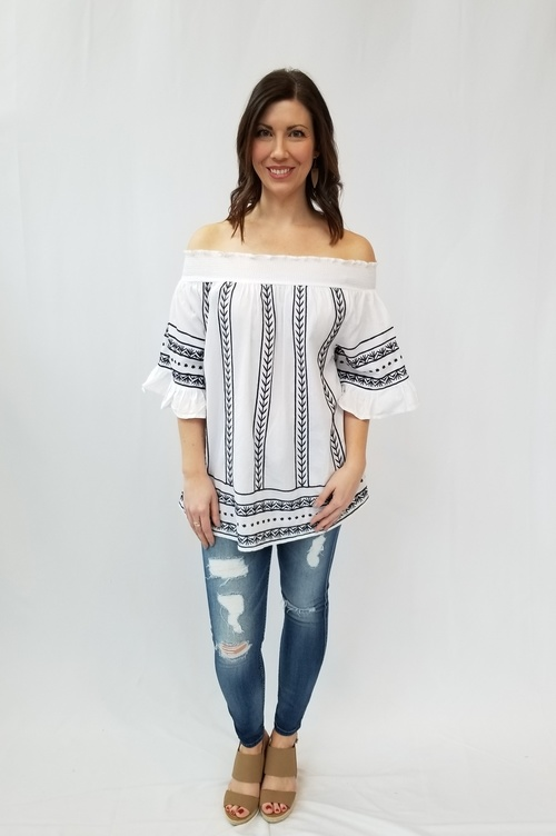 Off Shoulder White and Blue Blouse