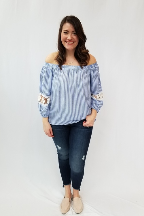 Striped Off Shoulder Lace Inset Top