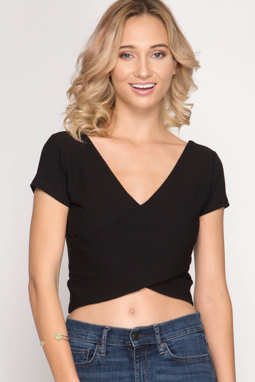 Short Sleeve Ribbed Cross Front Crop Top
