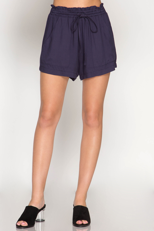 Twill Shorts with Front Pocket and Waist Drawstring
