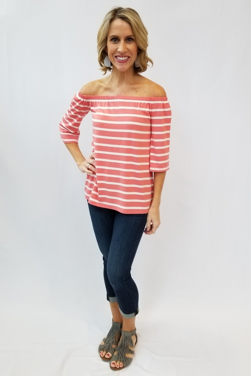 Adley Striped Cantaloupe Off Shoulder Top