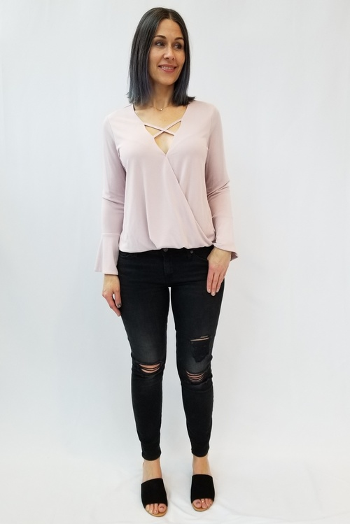 Dusty Pink Criss Cross Top