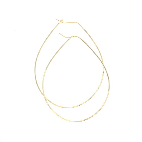 Pear Hoop Earrings Gold