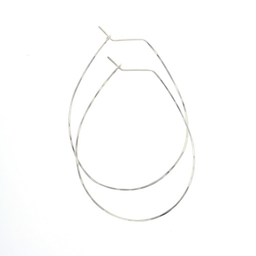 Pear Hoop Earrings Silver