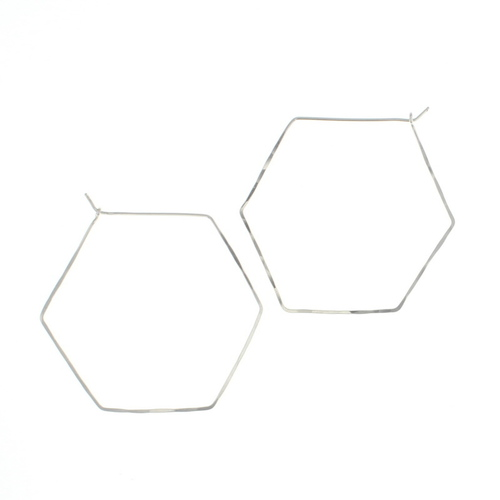Large Hexagon Hoop Silver