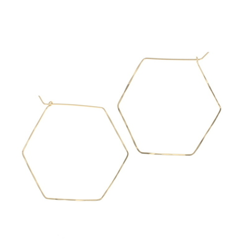 Large Hexagon Hoop Gold