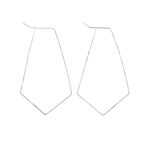 Kite Hoop Earrings Silver