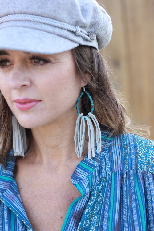 Stone & Leather Tassel Earring