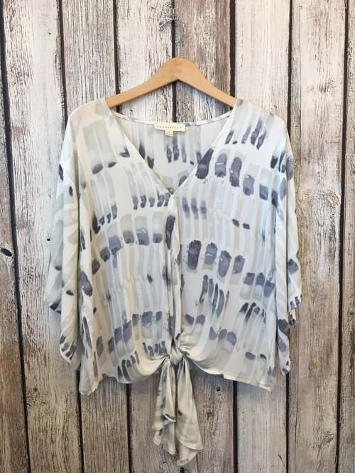 Artistic Print Tie Front Kimono Blouse