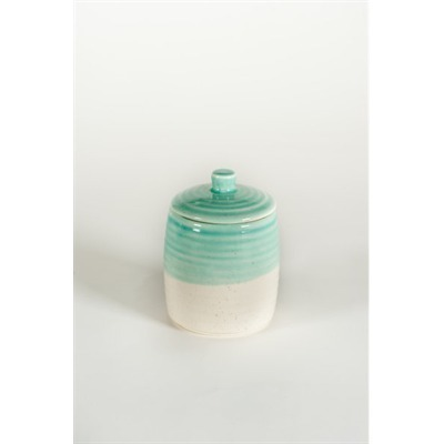 Small Turquoise And White Canister