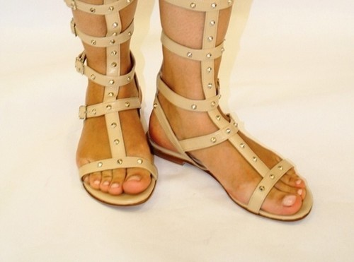 766423202396 Beige Leather Studded Amazon Gladiators. Gibellieri ...