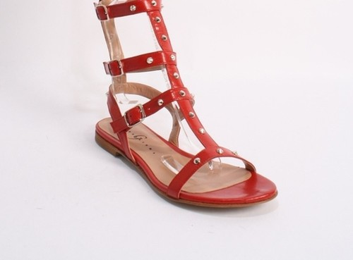 2ef2901706ab Deep Red Leather Studded Amazon Gladiators. Gibellieri ...