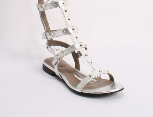 Silver Leather Studded Amazon Gladiators