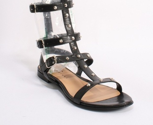 Black Leather Studded Amazon Gladiators