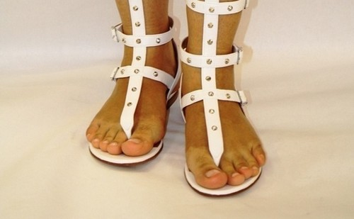 eac9ce9083d4 White Leather Studded Thong Amazon Gladiators. Gibellieri ...