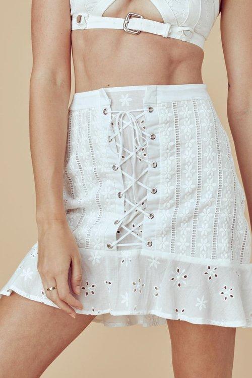 Hermosa Eyelet Mini Skirt