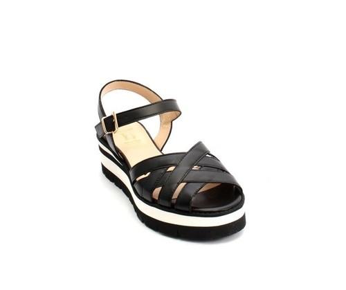 Black Leather Strappy Platform Sandals