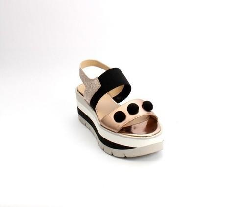 Bronze / Black Leather / Elastic Platform Sandals