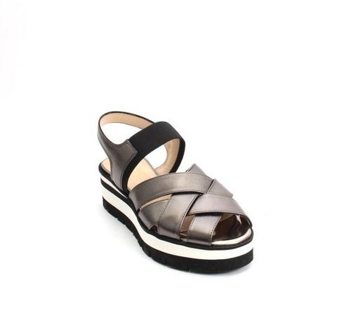 Pewter / Gunmetal Leather Elastic Platform Sandals