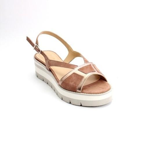 Brown / Bronze / Suede Leather Platform Sandals