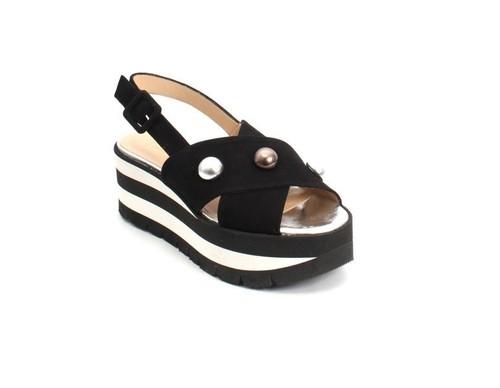 Black / White Suede / Leather Strappy Platform Sandals