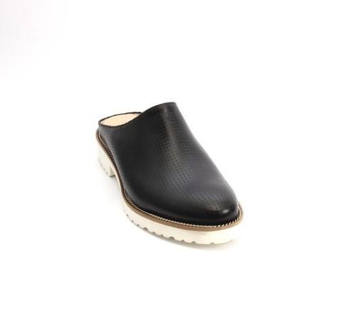 Black / White Leather Platform Shoes Mules