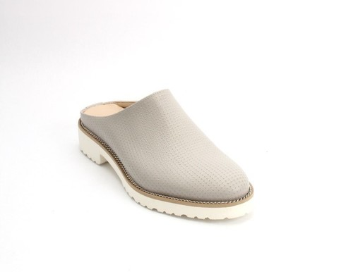 Gray / White Leather Platform Shoes Mules
