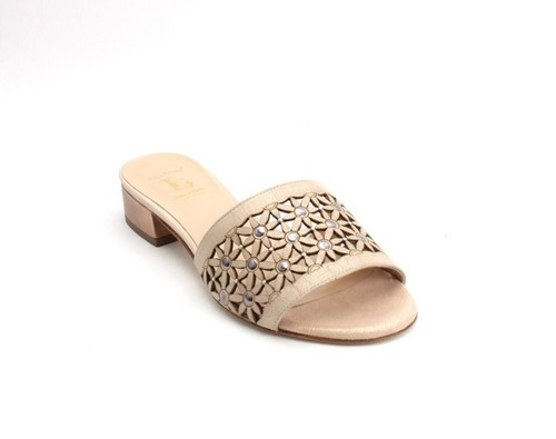 f87368440559 Beige   Bronze Suede Leather Heel Slides Sandals
