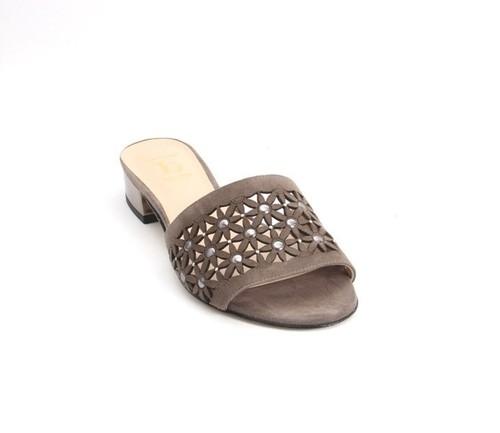 Gray / Bronze Suede Leather Heel Slides Sandals