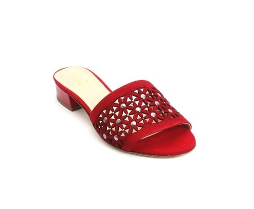 dbc73b7a0217 Red Suede Patent Leather Heel Slides Sandals