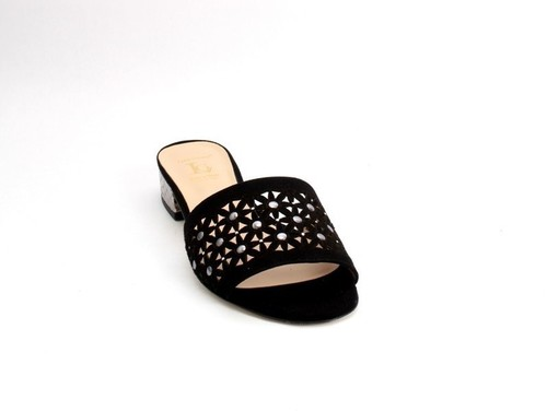 Black Silver Suede Leather Heel Slides Sandals