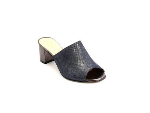 Navy / Gray Suede / Leather Heel Slides Sandals