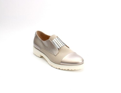 Beige Bronze Leather Elastic Shoes