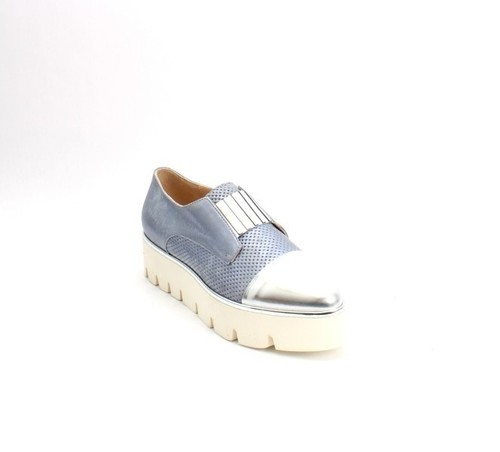 Blue Silver Suede / Leather Platform Pointy Shoes