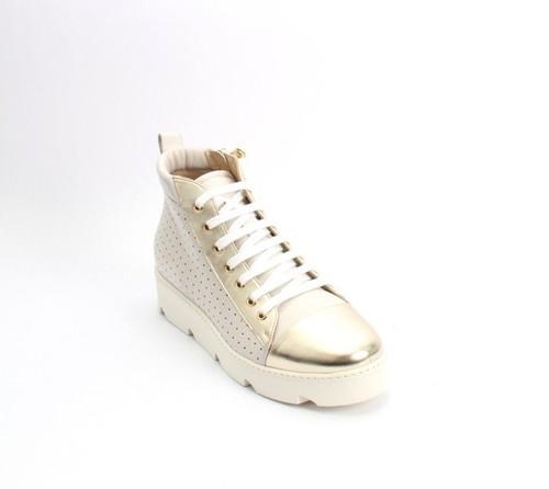 Beige / Gold Leather Lace Zip Platform Sneaker Shoes