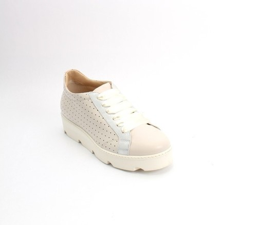 Beige Gray Leather Lace-Up Platform Sneaker Shoes