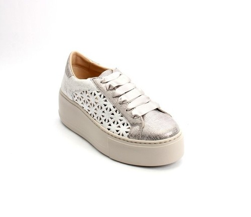 Gray / Silver Suede Mesh Lace Platform Sneaker Shoes