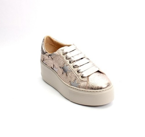 Rose Gold / Silver Leather Lace-Up Platform Shoes