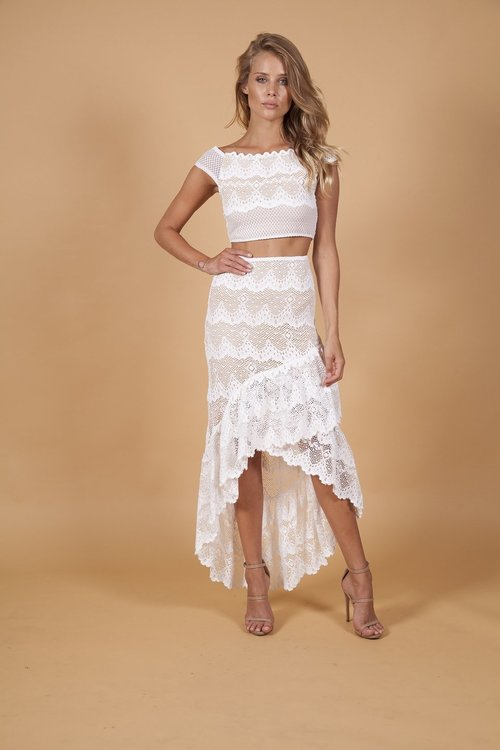 Victorian Fan Lace Maxi Skirt