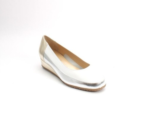 White / Gold / Silver Leather Wedge Pumps Shoes