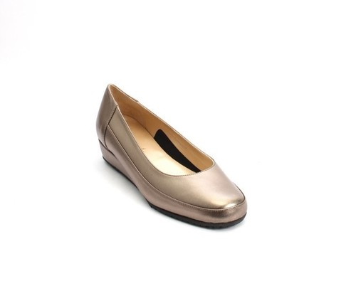 Comfort Bronze Leather Wedge Pumps Shoes